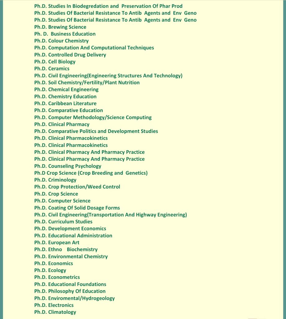 UNIBEN courses